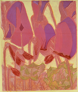"""Conrad Ross, """"Cyclamen"""" (2020), lithography, collagraph, woodcut, engraving"""