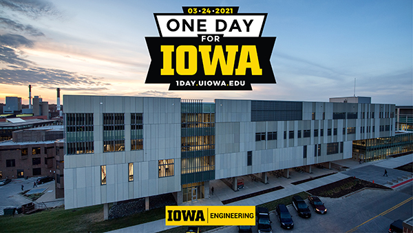 Seamans Center with One day for Iowa graphic