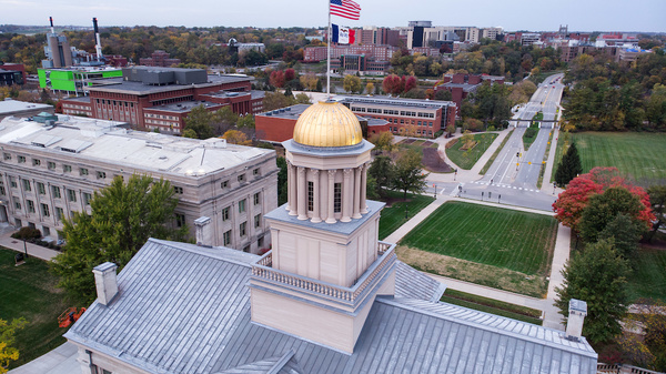 pentacrest and cleary walkway shot with drone