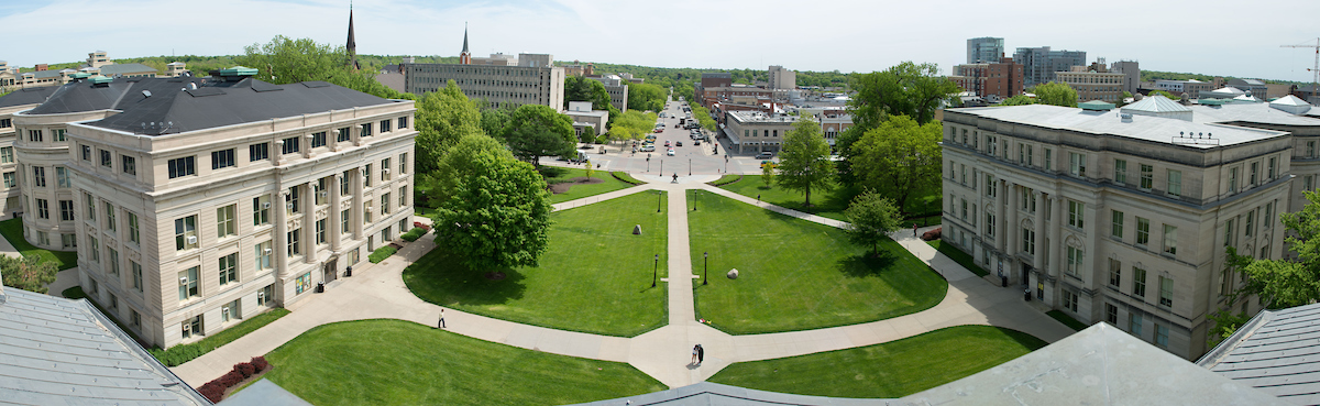 View of east side of campus from the Old Capitol dome.