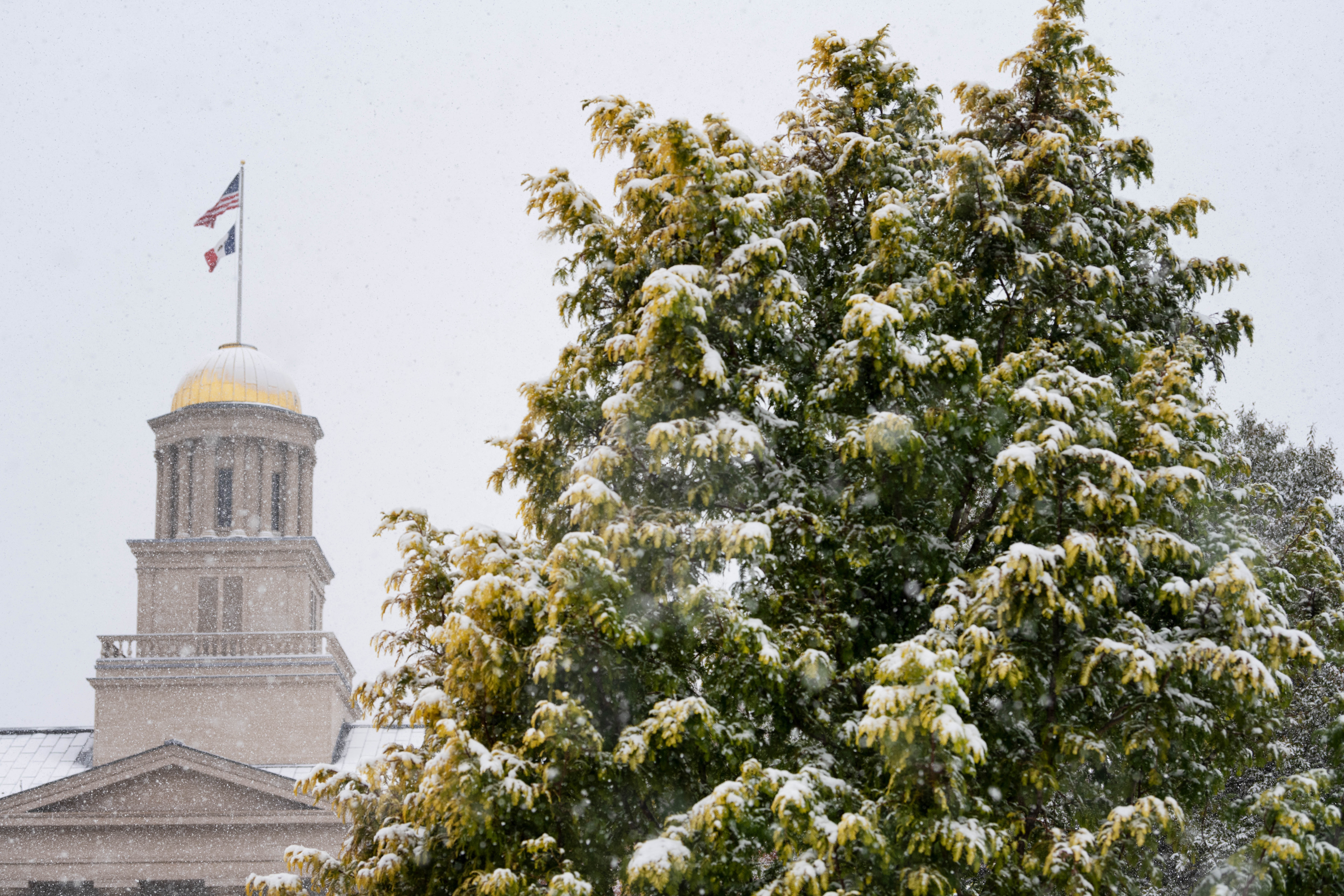 Snow covering the Old Capitol on the UI Pentacrest